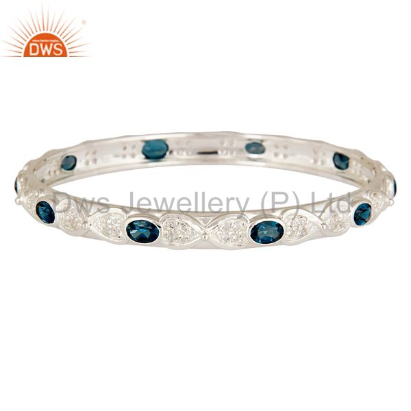 London Blue Topaz Gemstone Sterling Silver Bangle / Bracelet With White Topaz