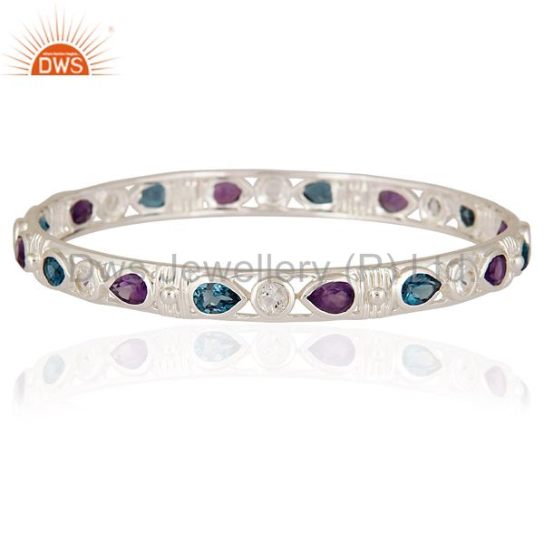 Fine sterling silver amethyst and swiss blue topaz bangle jewelry