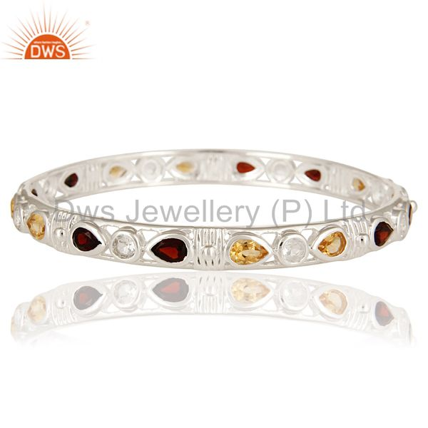 925 sterling silver citrine and garnet gemstone bangle white topaz