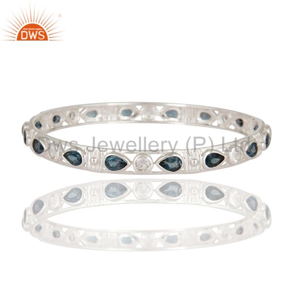 925 sterling natural london blue topaz designer bangle white topaz