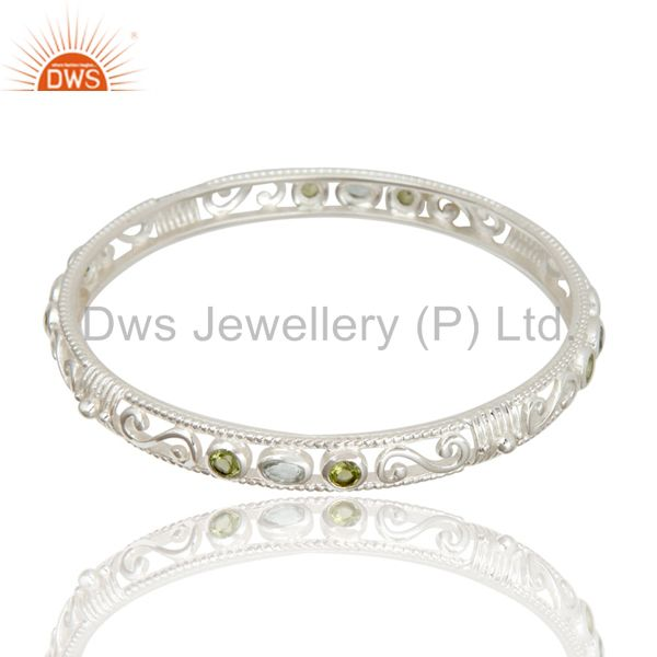 925 sterling silver peridot blue topaz designer bangle bracelet