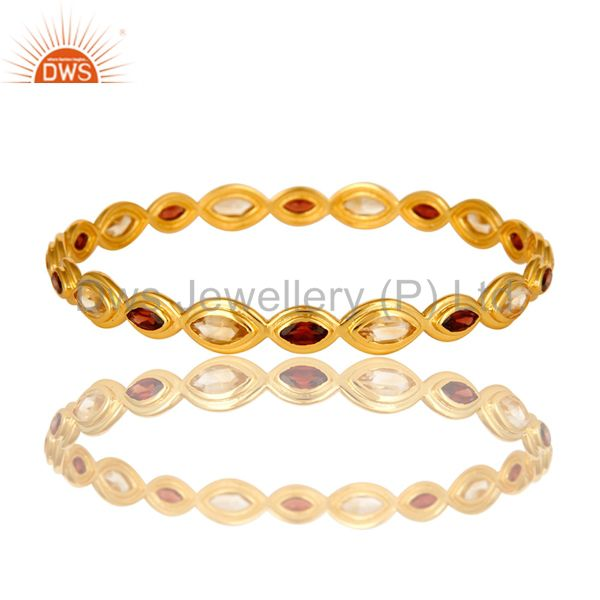 14K Yellow Gold Plated Brass Natural Garnet And Citrine Gemstone Bangle Bracelet