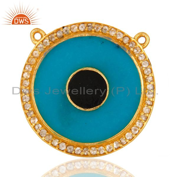 18k gold plated sterling silver white topaz necklace connector with blue enamel