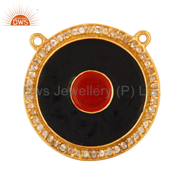 18k gold plated silver white topaz evil eye necklace connector with red enamel