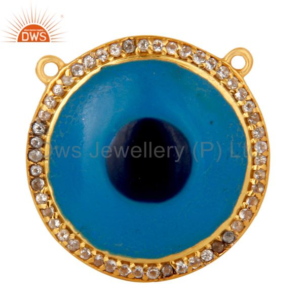 18K Gold Plated Sterling Silver White Topaz Evil Eye Charm Enamel Connector