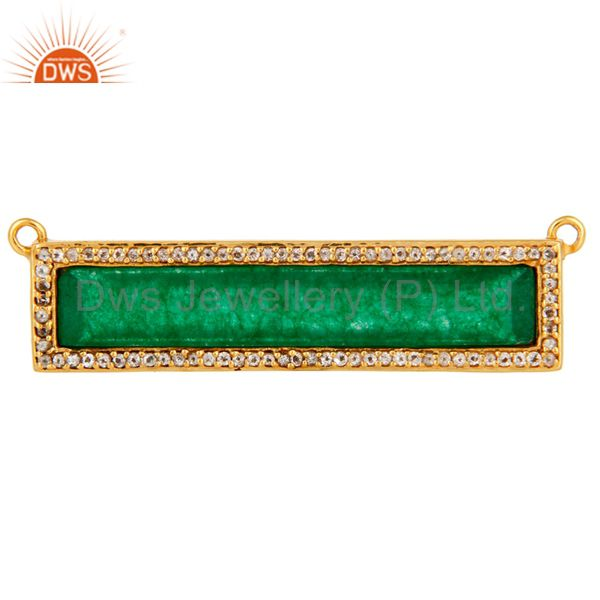 Green Aventurine White Topaz Connector Gold Plated 925 Silver Jewelry Findings