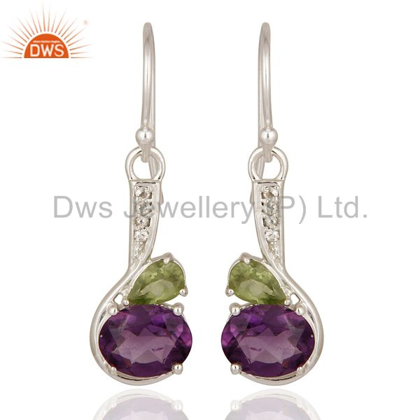 Natural Amethyst, Peridot & White Topaz 925 Sterling Silver Earrings