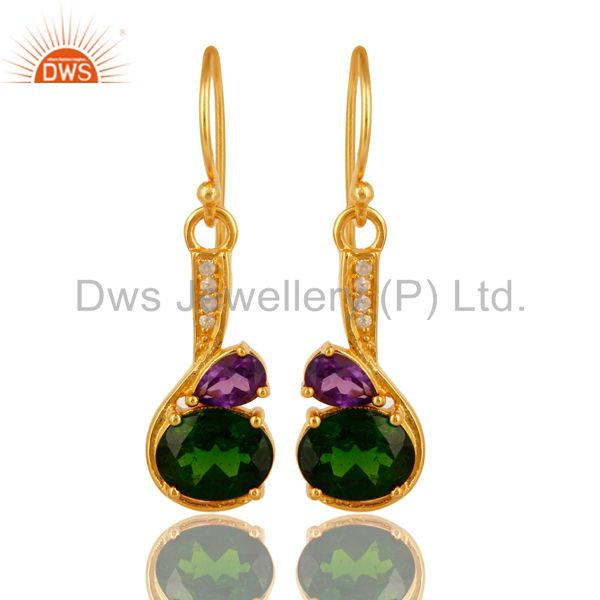 Amethyst And Chrome Diopside Sterling Silver Dangle Earrings - Gold Plated