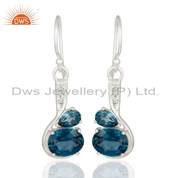 5.71 Ct Natural London Blue Topaz Solid 925 Sterling Silver Gemstone Earrings
