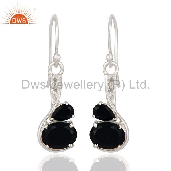 925 Sterling Silver Natural Black Onyx Gemstone Dangle Earrings With White Topaz