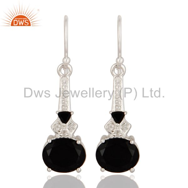 Designer Black Onyx & White Topaz Genuine 925 Sterling Silver Dangle Earrings