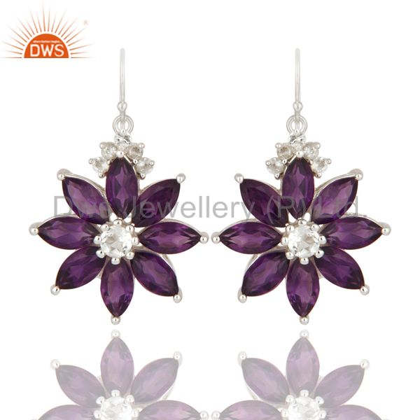 Natural Amethyst And White Topaz 925 Sterling Silver Flower Design Earrings