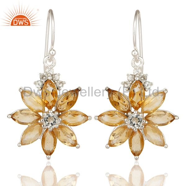 925 Sterling Silver White Topaz & Citrine Marquise Cut Gemstone Flower Earrings
