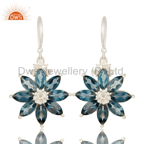 925 Sterling Silver London Blue Topaz And White Topaz Flower Dangle Earrings