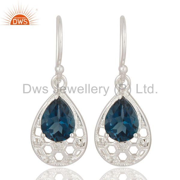 925 Sterling Silver London Blue Topaz Pear-Shaped Drop Earrings With White Topaz