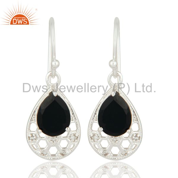 Black Onyx And White Topaz Sterling Silver Fine Gemstone Designer Earrings