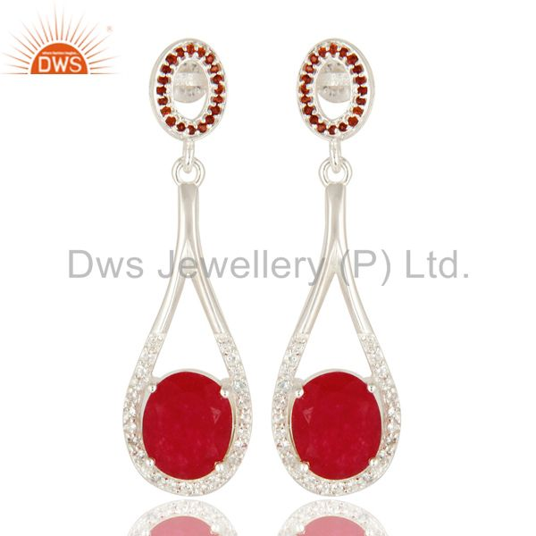 925 Sterling Silver Garnet And Red Aventuinre Dangle Earrings With White Topaz