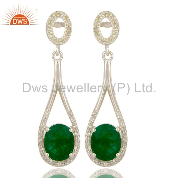 925 Sterling Silver Green Aventurine And White Topaz Dangle Earrings For Womens