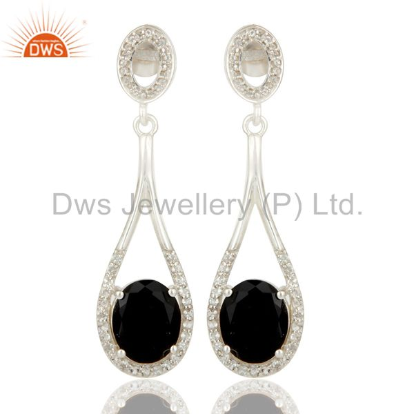925 Sterling Silver Black Onyx And White Topaz Dangle Earrings For Womens