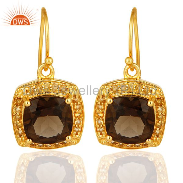 14K Yellow Gold Plated Sterling Silver Smoky Quartz And Citrine Gemstone Earring