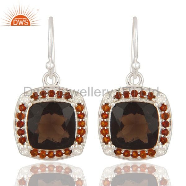 925 Sterling Silver Smoky Quartz And Citrine Gemstone Solitaire Earrings