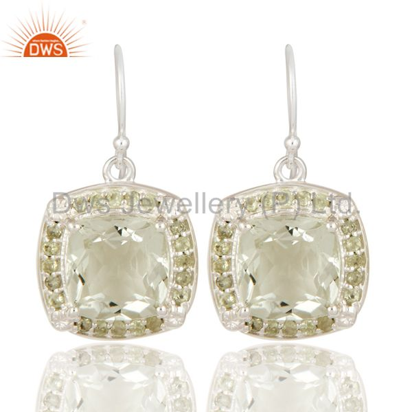 925 Sterling Silver Cushion Cut Green Amethyst Gemstone Solitaire Earrings