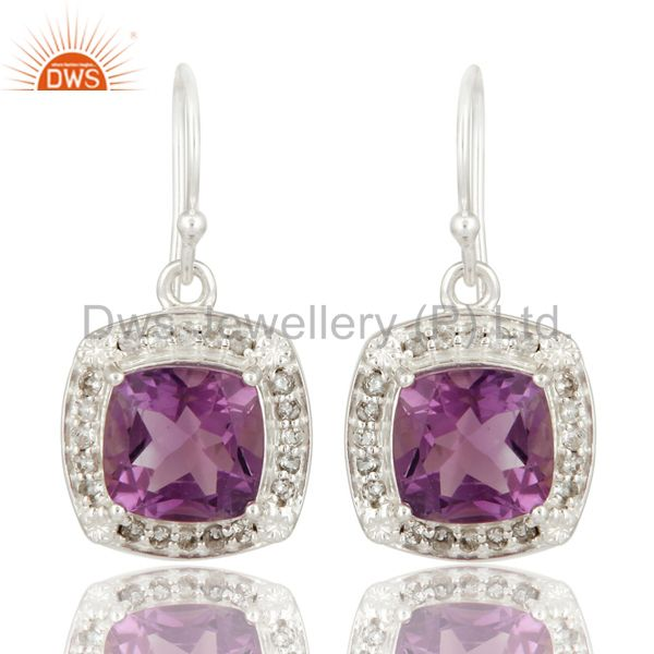 Natural Amethyst & White Topaz Gemstone Solitaire Sterling Silver Dangle Earring