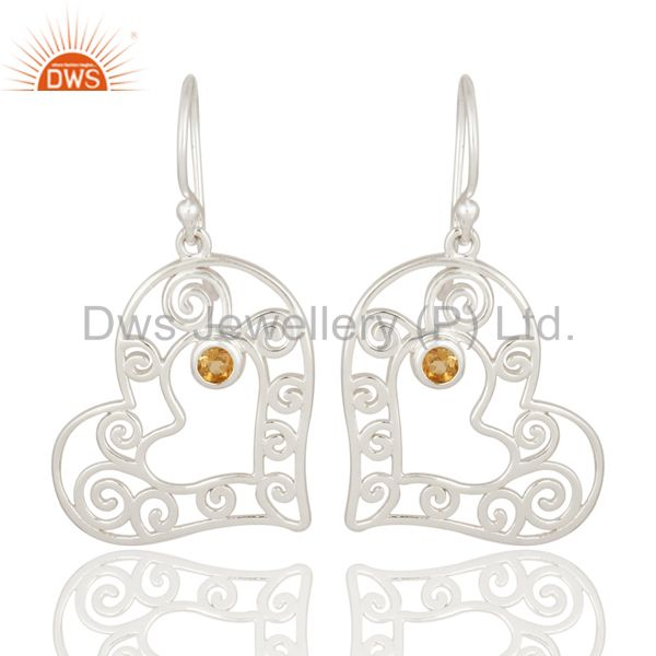 Citrine Heartshape 92.5 Sterling Silver Wholesale Jewelry supplier