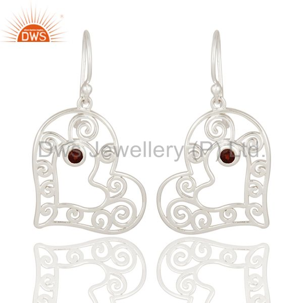 925 Sterling Silver Genuine Garnet Gemstone Heart Design Bridal Dangle Earrings