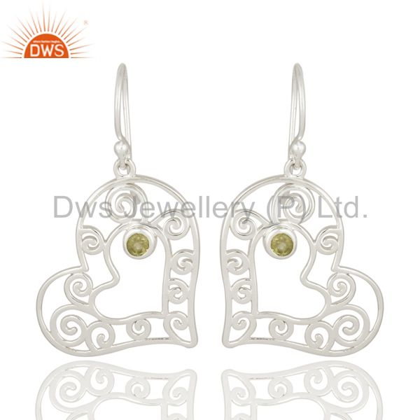 925 Sterling Silver Peridot Gemstone Party Wear Fashion Dangle Earrings Jewelry