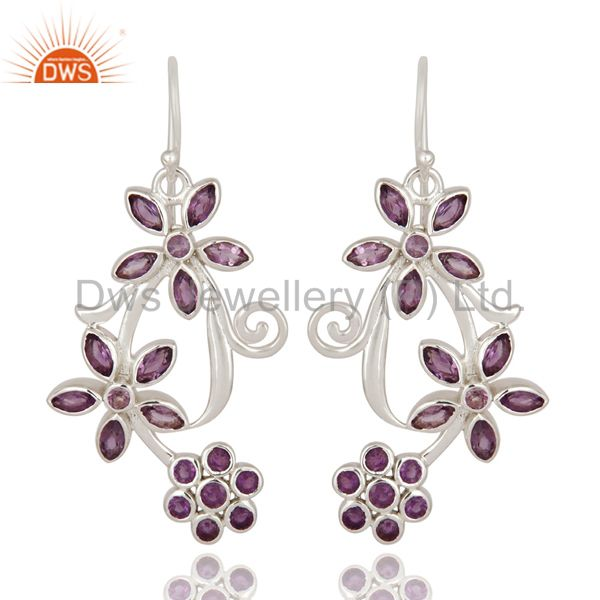 Designer Amethyst Gemstone 925 Sterling Silver Earrings - Fine Jewelry