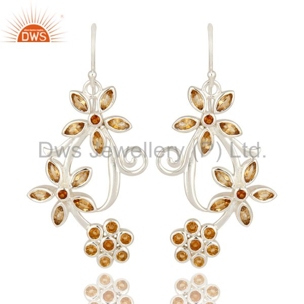 Natural Citrine Gemstone 925 Sterling Silver Designer Earrings