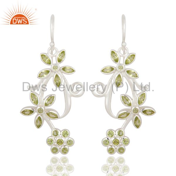 925 Sterling Silver Natural Peridot Gemstone Flower Designer Dangle Earrings