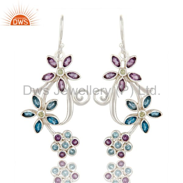 925 Sterling Silver Amethyst, Blue Topaz And Peridot Flower Dangle Earrings