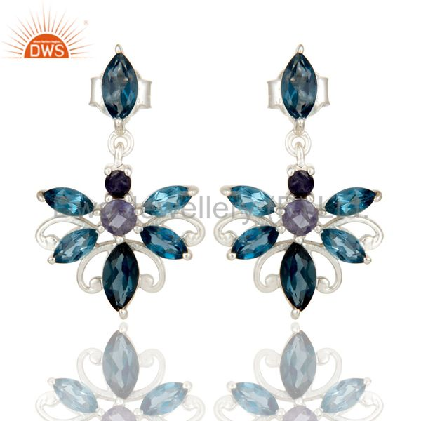 925 Sterling Silver London Blue Topaz and Iolite Gemstone Dangle Stud Earrings