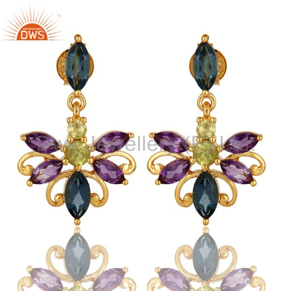 925 Sterling Silver Amethyst, Blue Topaz And Peridot Earrings - Gold Plated