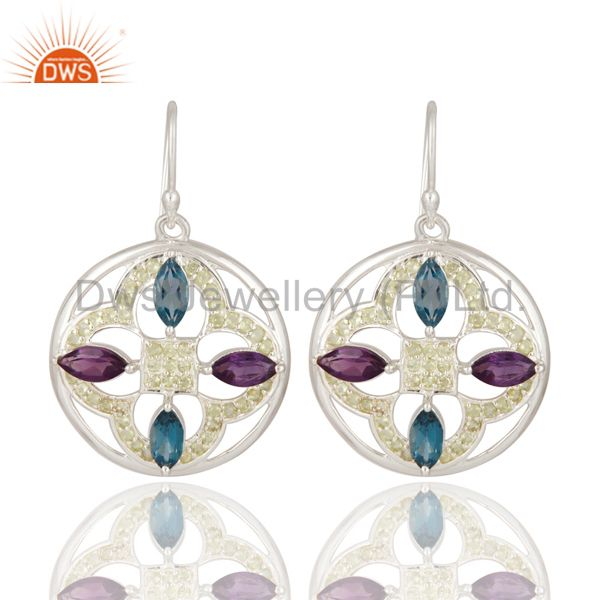 Peridot / Blue Topaz And Amethyst Gemstone Earrings Made In 925 Sterling Silver