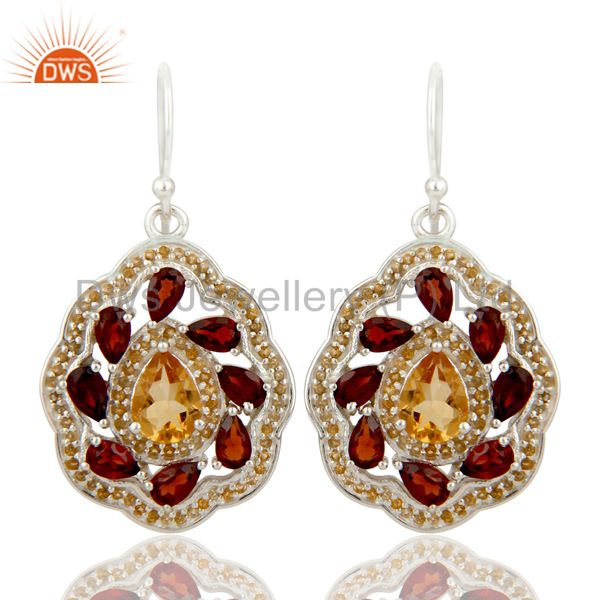 Natural Citrine and Garnet Gemstone Sterling Silver Drop Earring Fine Jewelry