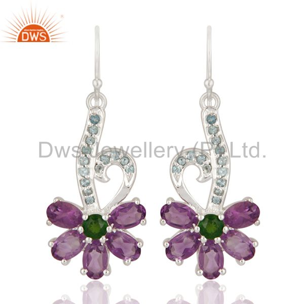 Blue Topaz And Amethyst 925 Sterling Silver Solitaire Earrings Jewelry For Women
