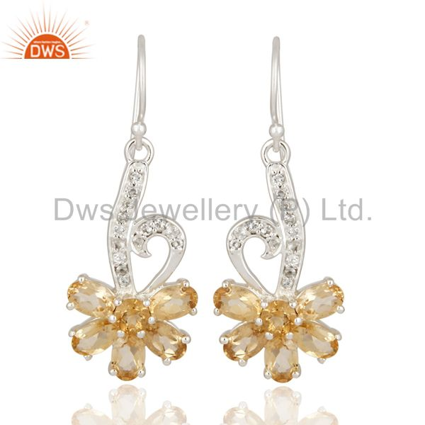 925 Sterling Silver Natural Citrine Fine Gemstone Desinger Earrings With Topaz