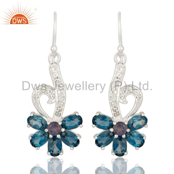 Natural Amethyst And London Blue Topaz Sterling Silver Earrings With White Topaz