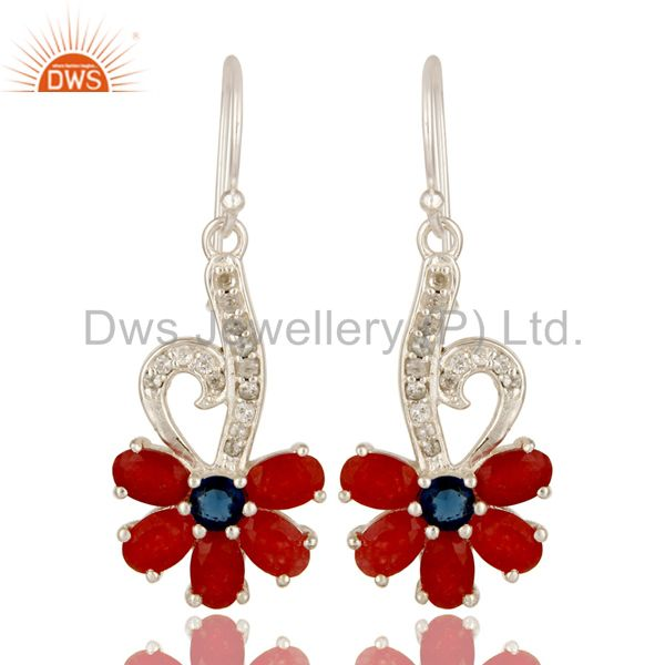 Red Aventurine, Blue Corundum And White Topaz Sterling Silver Designer Earrings