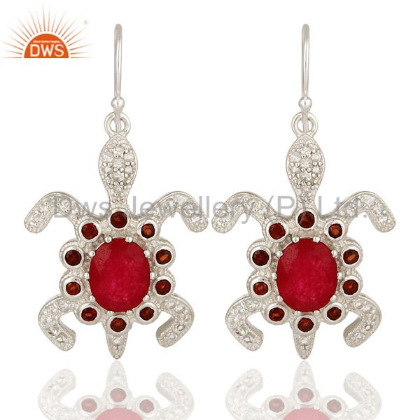 925 Sterling Silver Red Aventurine And Garnet Turtle Dangle Earrings With White