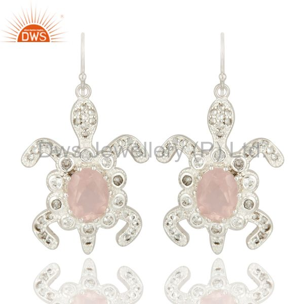 Natural Rose Quartz Gemstone Solid Sterling Silver Earrings With White Topaz