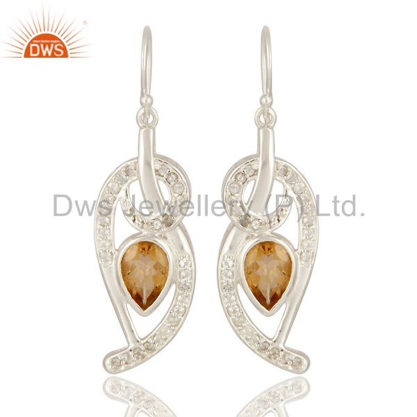 Natural Citrine Gemstone 925 Sterling Silver Designer Earrings With White Topaz