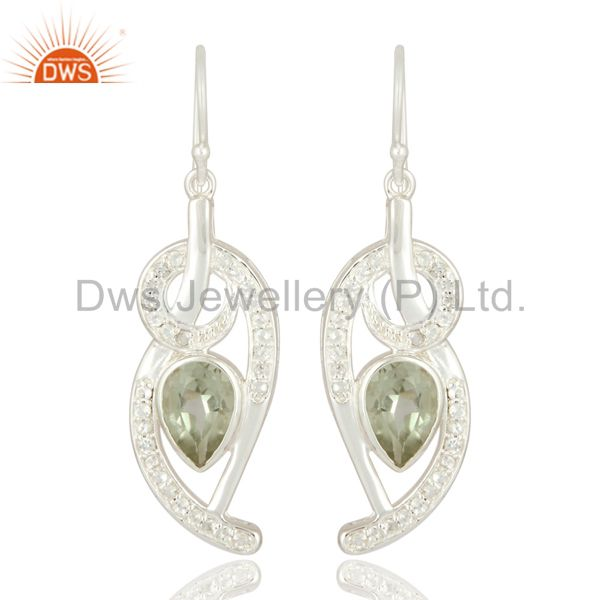 Natural Green Amethyst 925 Sterling Silver Designer Gemstone Dangle Earrings