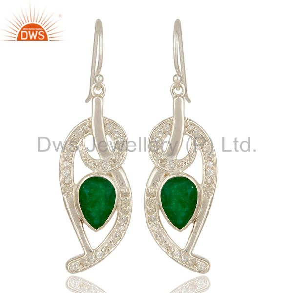 Green Aventurine And White Topaz Sterling Silver Designer Earrings