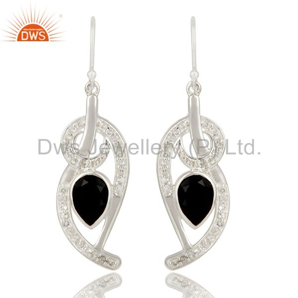 Black Onyx And White Topaz Sterling Silver Designer Earrings