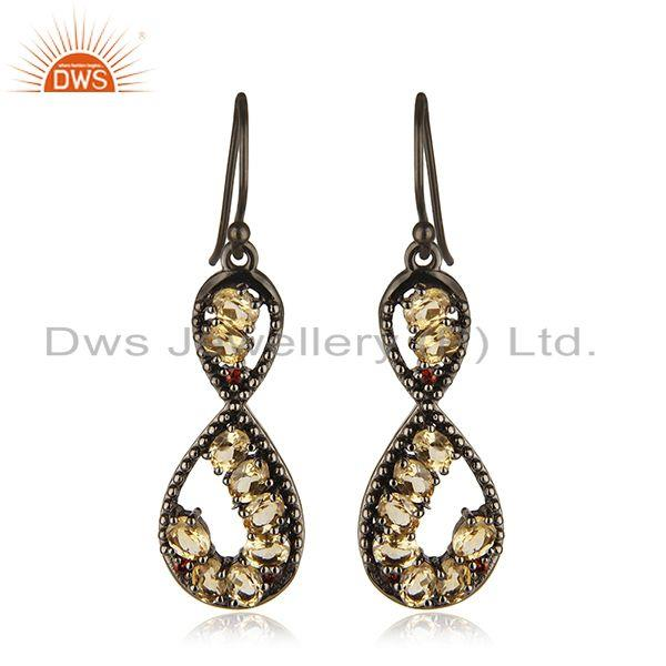 Natural Citrine Gemstone Black 92.5 Sterling Silver Dangle Earrings Manufacturer