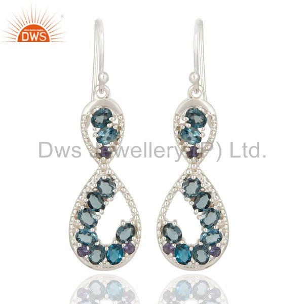 London Blue Topaz And Iolite Gemstone Sterling Silver Infinity Drop Earrings